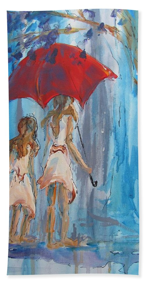 Rain Hand Towel featuring the painting Give Me Shelter by Terri Einer