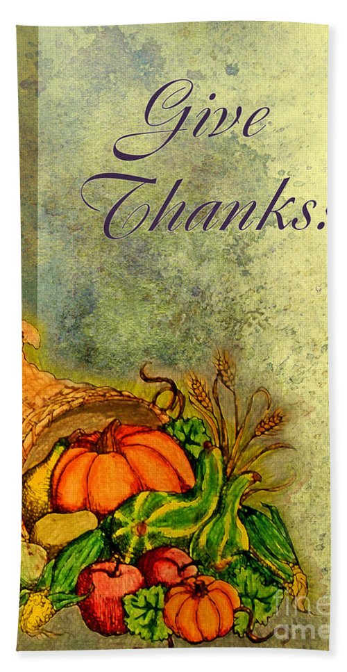 Season Hand Towel featuring the digital art Give Thanks I by Debbie Portwood
