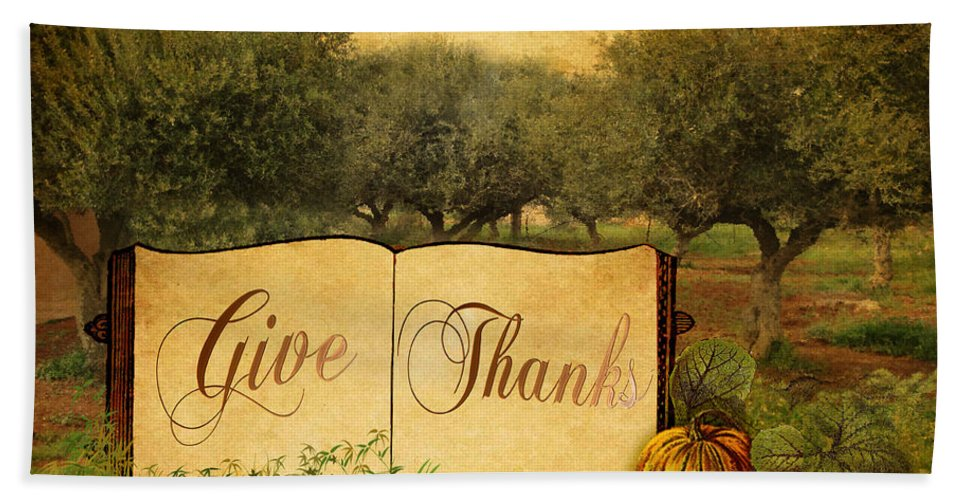 Give Thanks Bath Sheet featuring the digital art Give Thanks by Sarah Vernon