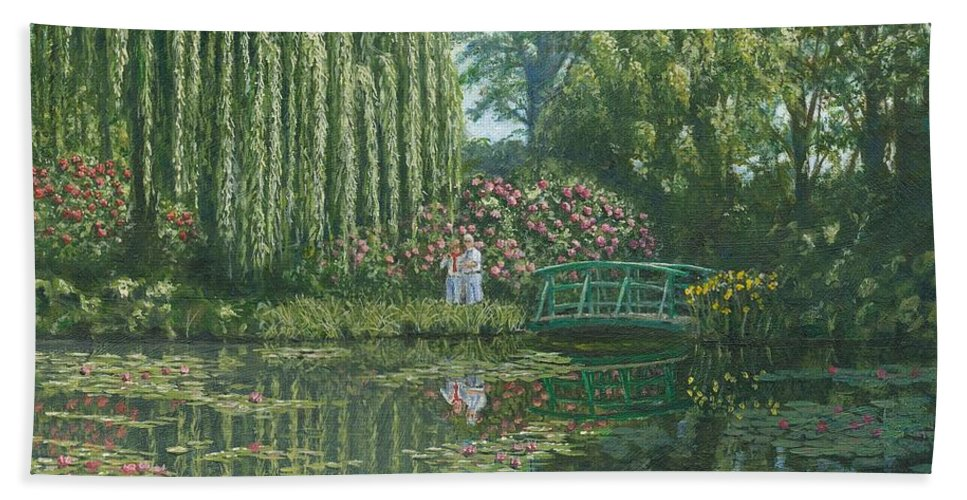 Landscape Hand Towel featuring the painting Giverny Reflections by Richard Harpum
