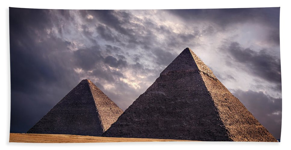 Dramatic Hand Towel featuring the photograph Giza Pyramids In Cairo Egypt by Sophie McAulay
