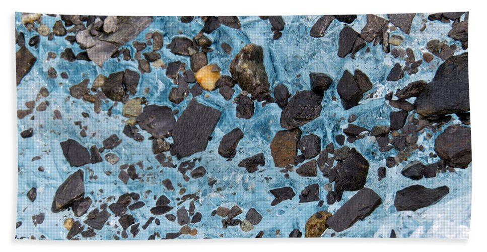 Glacier Hand Towel featuring the photograph Glacial Gold by Stacey May