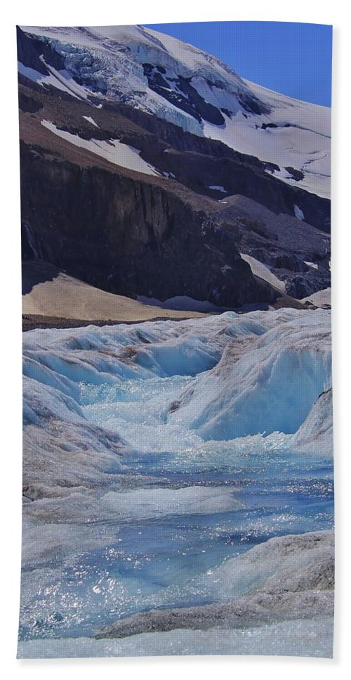 Athabasca Glacier Hand Towel featuring the photograph Glacial Meltwater 1 by Mo Barton