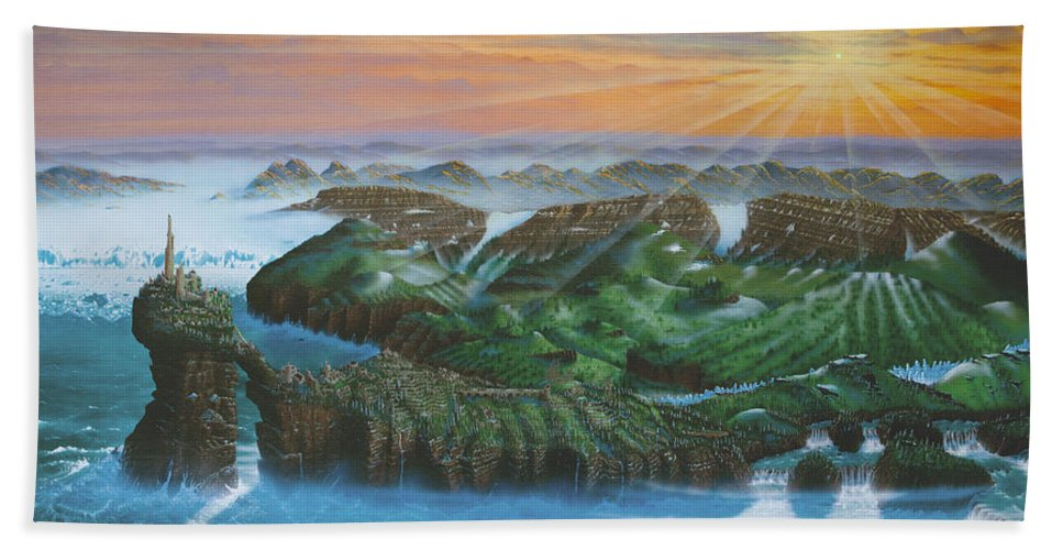 Ruins Hand Towel featuring the painting Glacier Castle Ruins by Dell Rosa