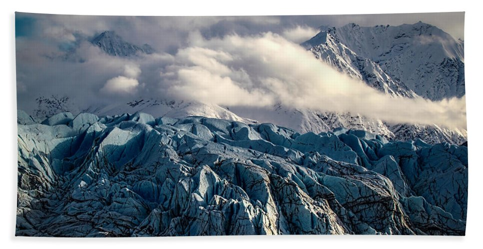 Glacier In The Clouds Hand Towel featuring the photograph Glacier In The Clouds by Wes and Dotty Weber