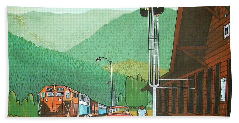 Great Northern Passenger Train Station Montana Glacier Park Bath Sheet featuring the painting Glacier Park Belton Montana by Frank Hunter