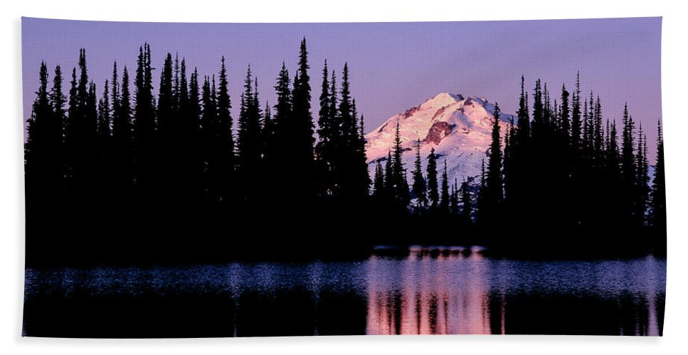 Glacier Peak Hand Towel featuring the photograph Glacier Peak Sunrise On Image Lake by Tracy Knauer