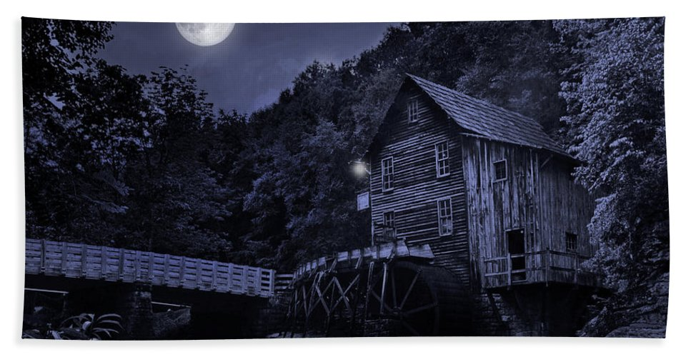 Glade Creek Grist Mill Hand Towel featuring the photograph Glade Creek Grist Mill At Night by Lj Lambert