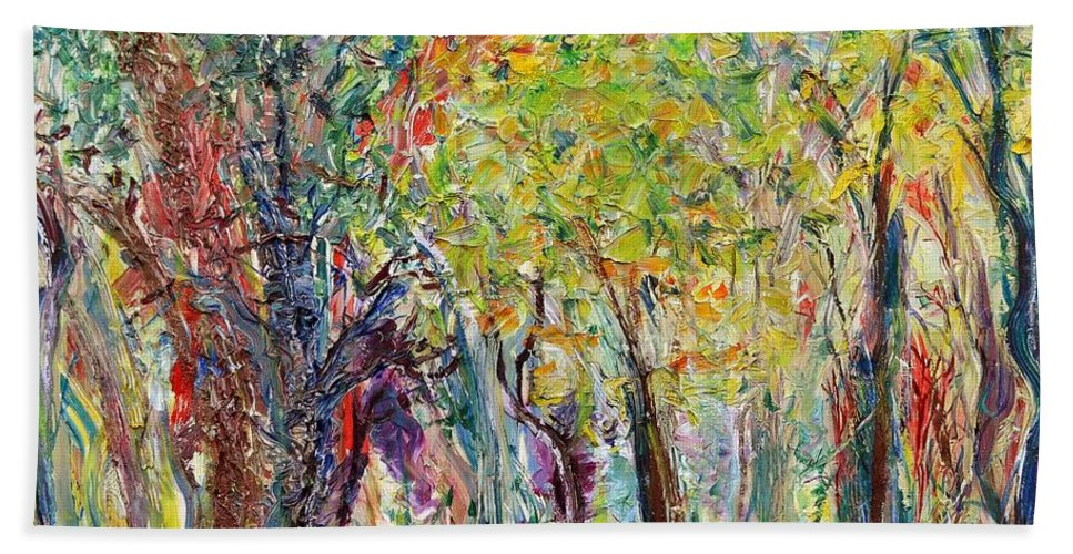 Glade Hand Towel featuring the painting Glade by Regina Valluzzi