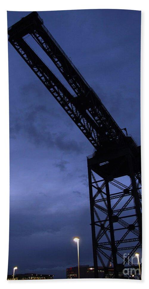 Crane Bath Sheet featuring the photograph Glasgow Dock Crane 02 by Antony McAulay