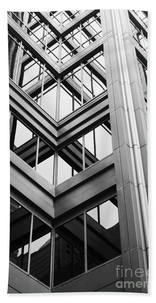 Architecture; Building; Facade; Side; Windows; Glass; Steel; Girders; Highrise; Skyscraper; City; Urban; Tall; High; Office; Condo; Apartments; Corner Hand Towel featuring the photograph Glass And Steel by Margie Hurwich