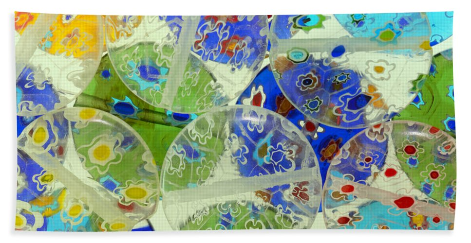 Abstract Hand Towel featuring the photograph Glass Beads Abstract by Grigorios Moraitis