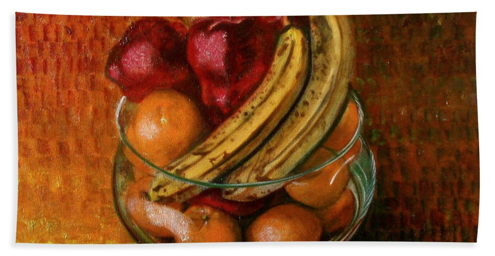 Still Life Hand Towel featuring the painting Glass Bowl Of Fruit by Sean Connolly