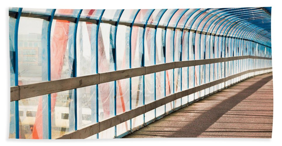 Angle Hand Towel featuring the photograph Glass Covered Walkway by Tom Gowanlock