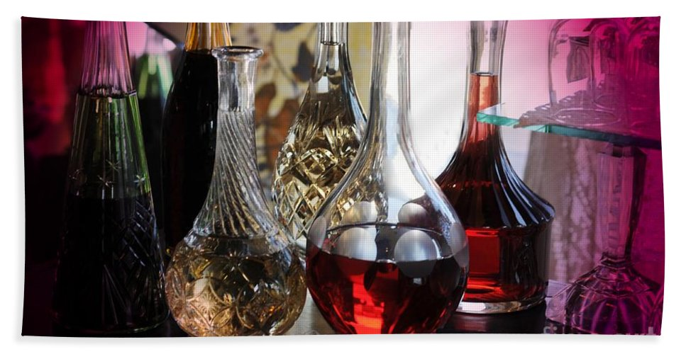 Glass Hand Towel featuring the photograph Glass Decanters And Glasses by Kathleen Struckle