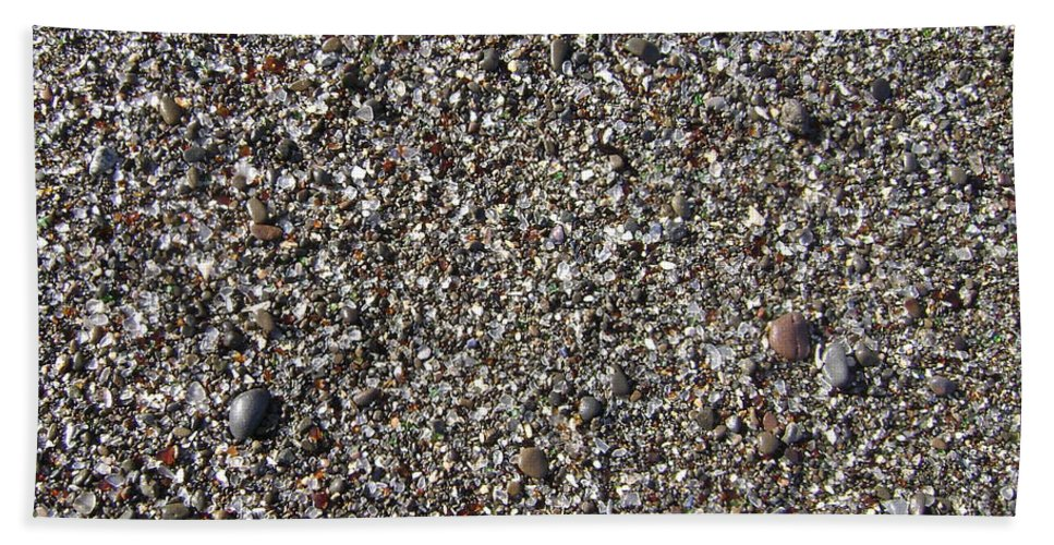Fort Bragg Hand Towel featuring the photograph Glass In The Gravel by Mike Niday