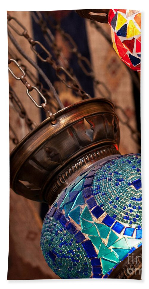Turkish Bath Sheet featuring the photograph Glass Lanterns 04 by Rick Piper Photography