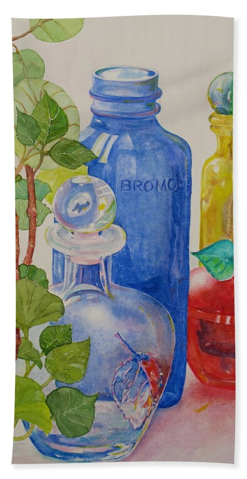 Glass Bath Sheet featuring the painting Glass Reunion by Mary Ellen Mueller Legault