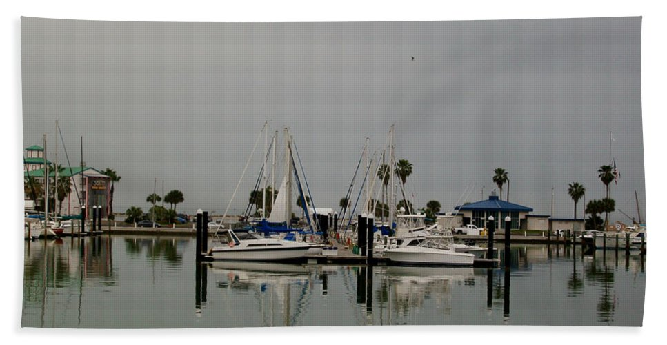 Corpus Christi Bay Hand Towel featuring the photograph Glassy Water by Laurette Escobar
