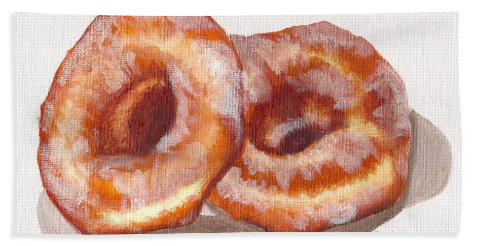 Glazed Donuts Bath Sheet featuring the painting Glazed Donuts by Debi Starr
