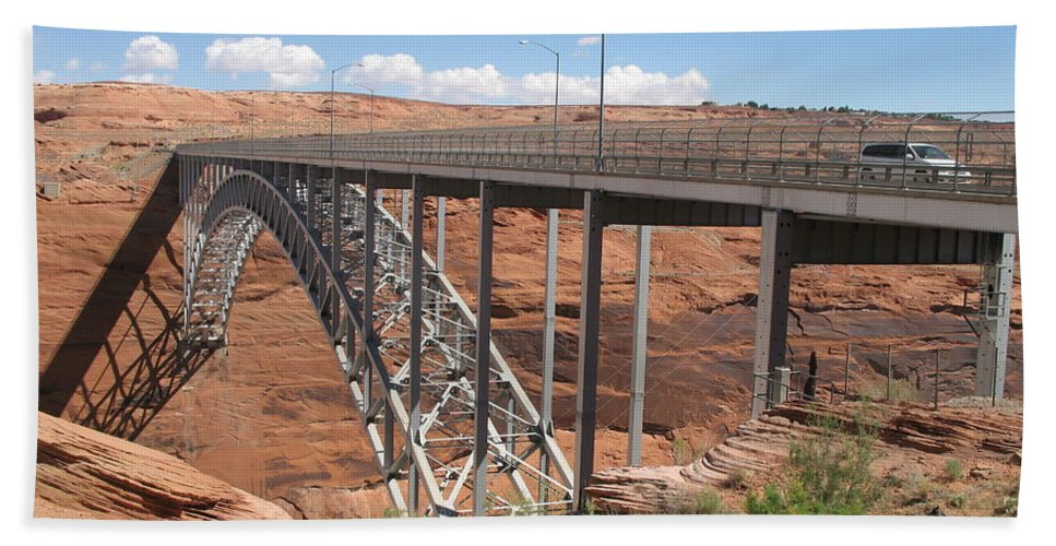 Steel Arch Bridge Bath Sheet featuring the photograph Glen Canyon Bridge by Christiane Schulze Art And Photography