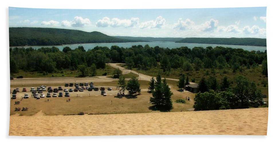 Dune Climb Hand Towel featuring the photograph Glen Lake From The Dune Climb by Michelle Calkins