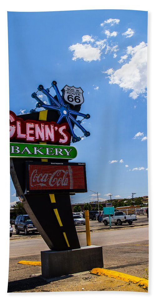Route 66 Hand Towel featuring the photograph Glenns Bakery by Angus Hooper Iii