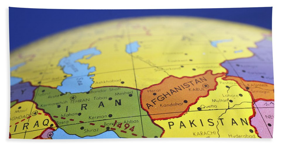 Global map of iran iraq afghanistan pakistan bath towel for sale by globe bath towel featuring the photograph global map of iran iraq afghanistan pakistan by donald erickson gumiabroncs Image collections