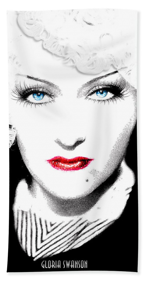 Gloria Bath Sheet featuring the digital art Gloria Swanson - Marlene Dietrich by Quim Abella