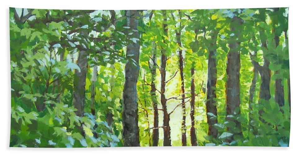 Landscape Hand Towel featuring the painting Glow by Karen Ilari