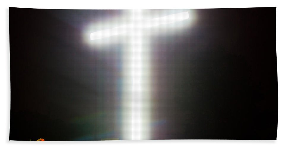 Cross Hand Towel featuring the photograph Glowing Cross by Jonny D