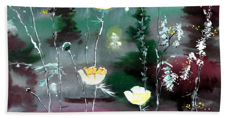 Floral Hand Towel featuring the painting Glowing Flowers by Anil Nene