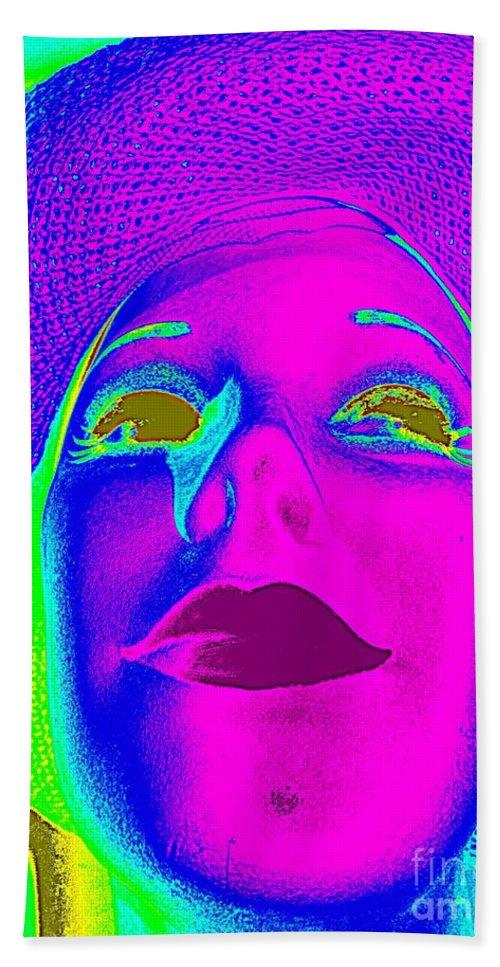 Pop Art Bath Sheet featuring the digital art Glowing Gigi by Ed Weidman