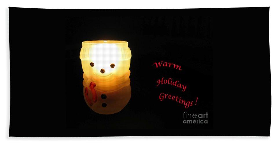 Snowman Hand Towel featuring the photograph Glowing Snowman by Ann Horn