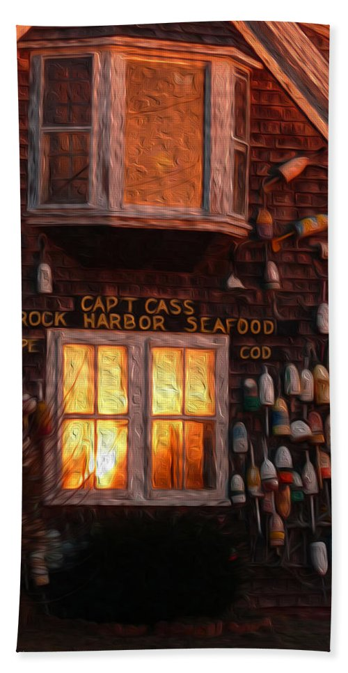 Rock Harbor Hand Towel featuring the photograph Glowing Windows by Heather MacKenzie