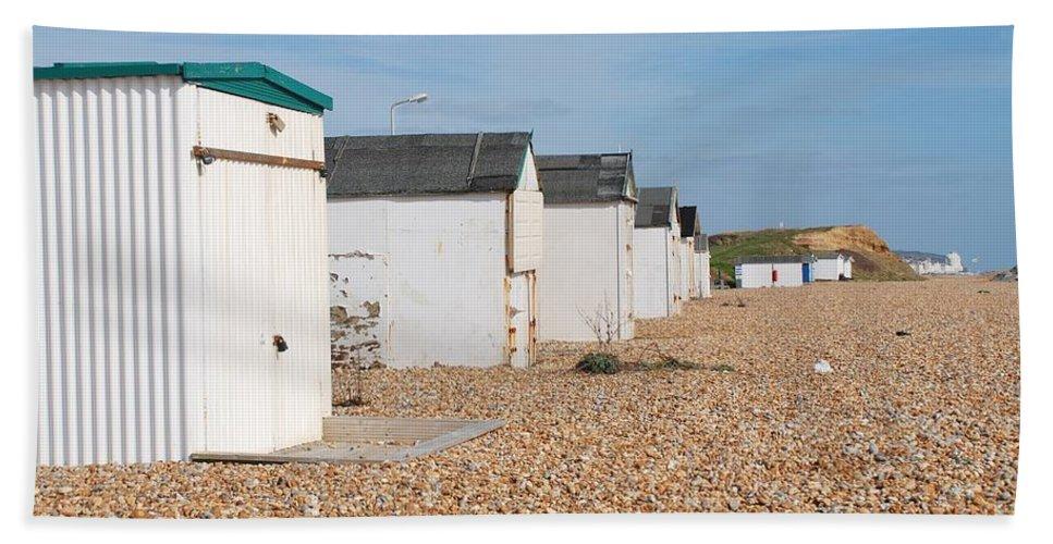 Beach Bath Sheet featuring the photograph Glyne Gap Beach Huts In Sussex by David Fowler