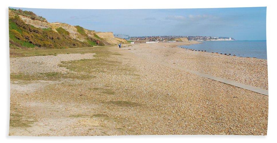Glyne Hand Towel featuring the photograph Glyne Gap Coast In England by David Fowler