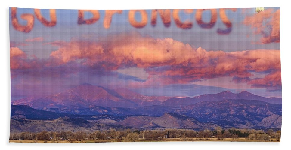 Go Broncos Hand Towel featuring the photograph Go Broncos Colorado Front Range Longs Moon Sunrise by James BO Insogna