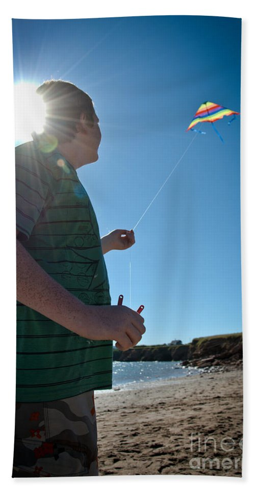 Summer Vacation Hand Towel featuring the photograph Go Fly A Kite by Cheryl Baxter