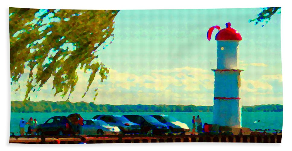 Montreal Bath Sheet featuring the painting Go Fly A Kite Off A Short Pier Lachine Lighthouse Summer Scene Carole Spandau Montreal Art by Carole Spandau