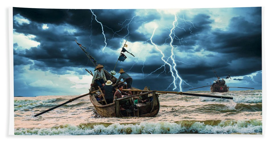 Blue Hand Towel featuring the painting Go Though The Storm by Philip HP Wong