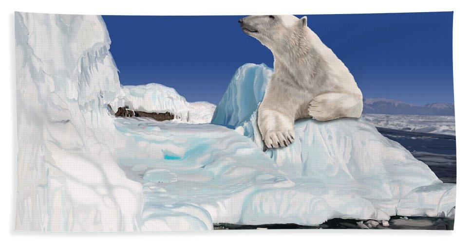 Arctic Bath Towel featuring the digital art Go With the Floe by Nigel Follett