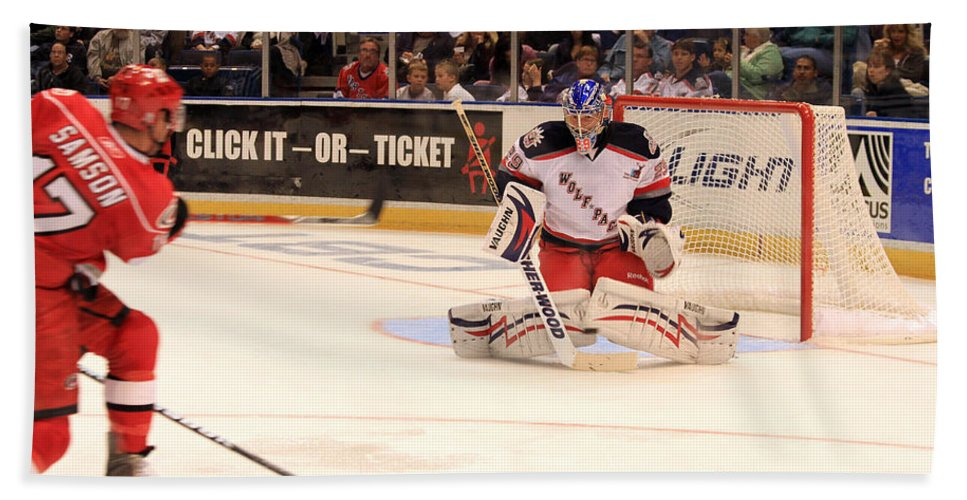 Ice Hockey Bath Sheet featuring the photograph Goalie Protects by Karol Livote