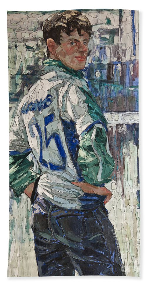 Soccer Bath Sheet featuring the painting Goalkeeper by Sergey Sovkov