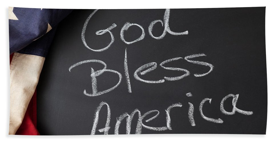 American Hand Towel featuring the photograph God Bless America by Leslie Banks