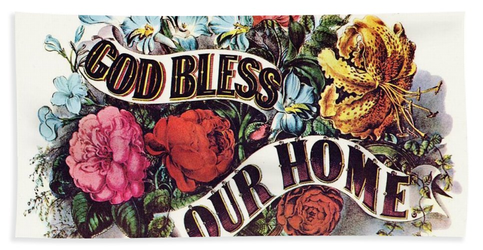 Currier & Ives Bath Sheet featuring the digital art God Bless Our Home by Currier and Ives