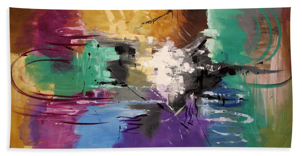 Abstract Hand Towel featuring the painting God Is Love by Anthony Falbo