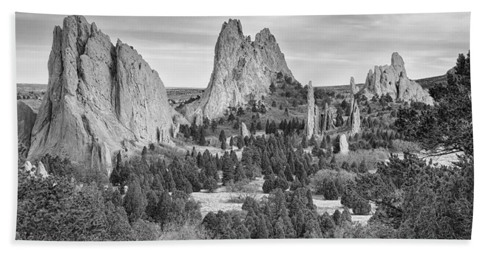 Garden Of The Gods Hand Towel featuring the photograph Gods Colorado Garden In Black And White  by James BO Insogna