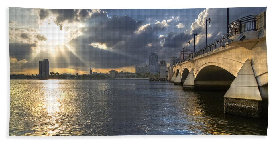 Clouds Hand Towel featuring the photograph God's Light Over West Palm Beach by Debra and Dave Vanderlaan