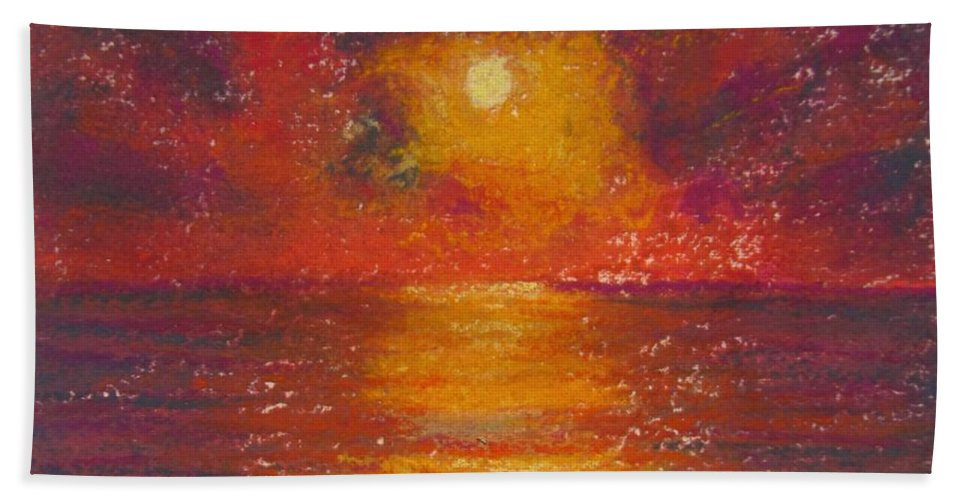 Sunset Bath Towel featuring the painting Island Sunset by Laurie Morgan